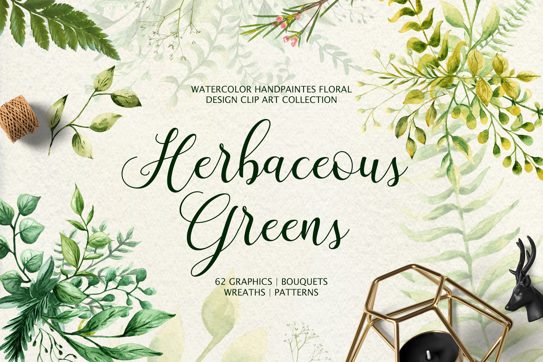 Herbaceous Greens Watercolor Set Graphic By tregubova.jul