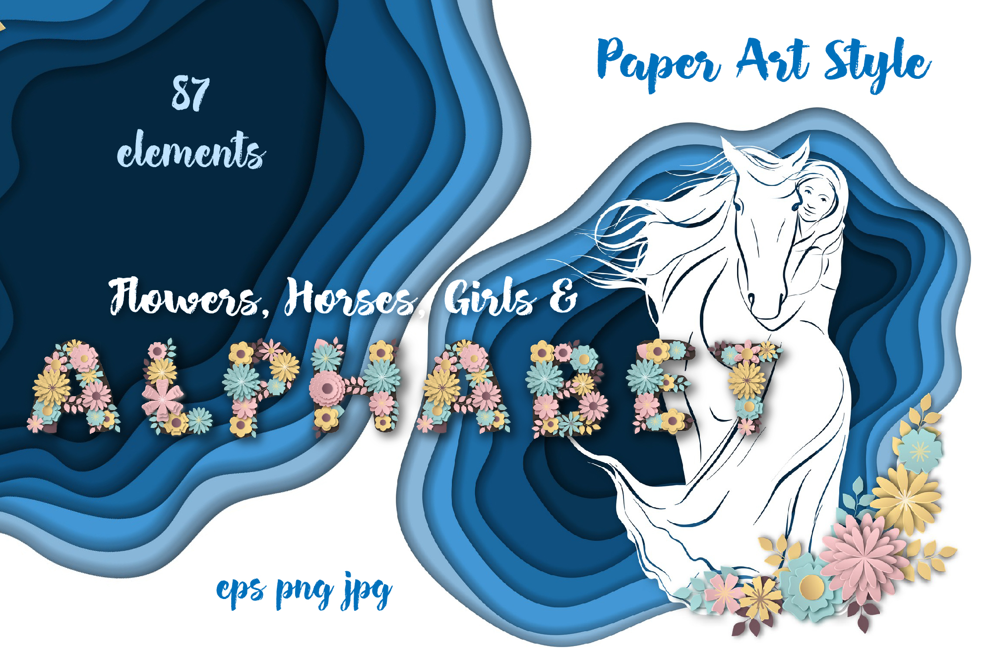 Print on Demand: Horses, Flowers & Alphabet – Vector Paper Art Style Graphic Illustrations By nicjulia