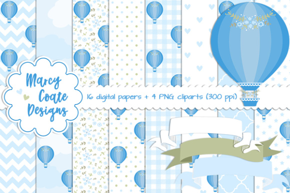 Hot Air Balloon Backgrounds Blue Graphic Illustrations By MarcyCoateDesigns