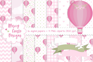 Hot Air Balloon Backgrounds Pink Graphic By MarcyCoateDesigns