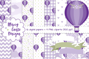 Hot Air Balloon Backgrounds Purple Graphic By MarcyCoateDesigns