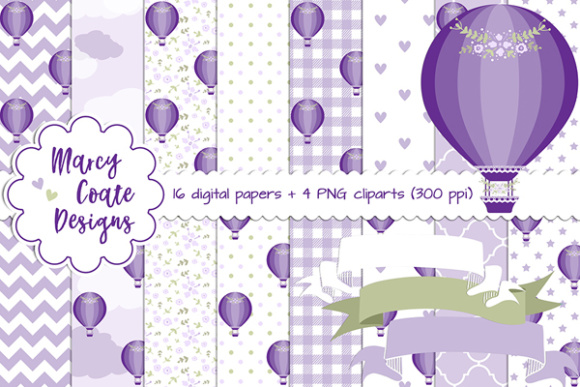 Hot Air Balloon Backgrounds Purple Graphic Backgrounds By MarcyCoateDesigns
