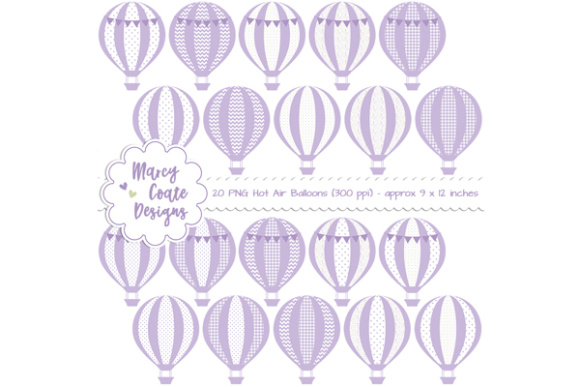Hot Air Balloons Clipart Lavender Graphic Illustrations By MarcyCoateDesigns