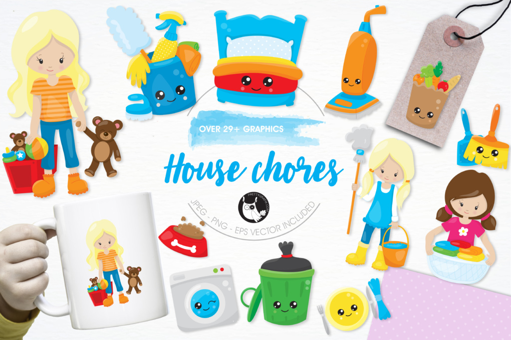 Download Free House Chores Graphic By Prettygrafik Creative Fabrica for Cricut Explore, Silhouette and other cutting machines.