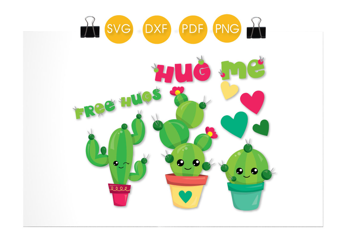 Download Free Hug Me Cactus Graphic By Prettycuttables Creative Fabrica for Cricut Explore, Silhouette and other cutting machines.
