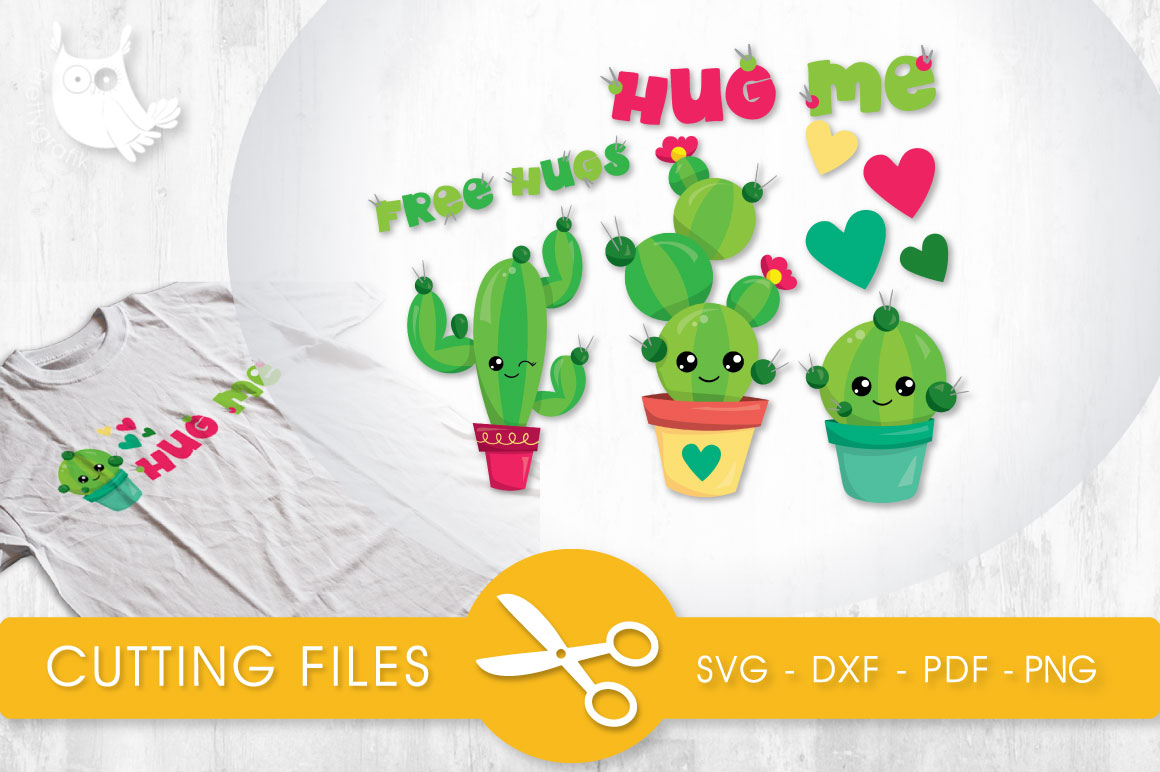 Hug Me Cactus Graphic Crafts By PrettyCuttables