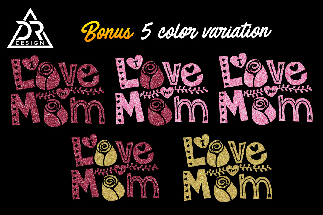 Download Free I Love You Mom Svg With Gold And Pink Glitter Graphic By for Cricut Explore, Silhouette and other cutting machines.