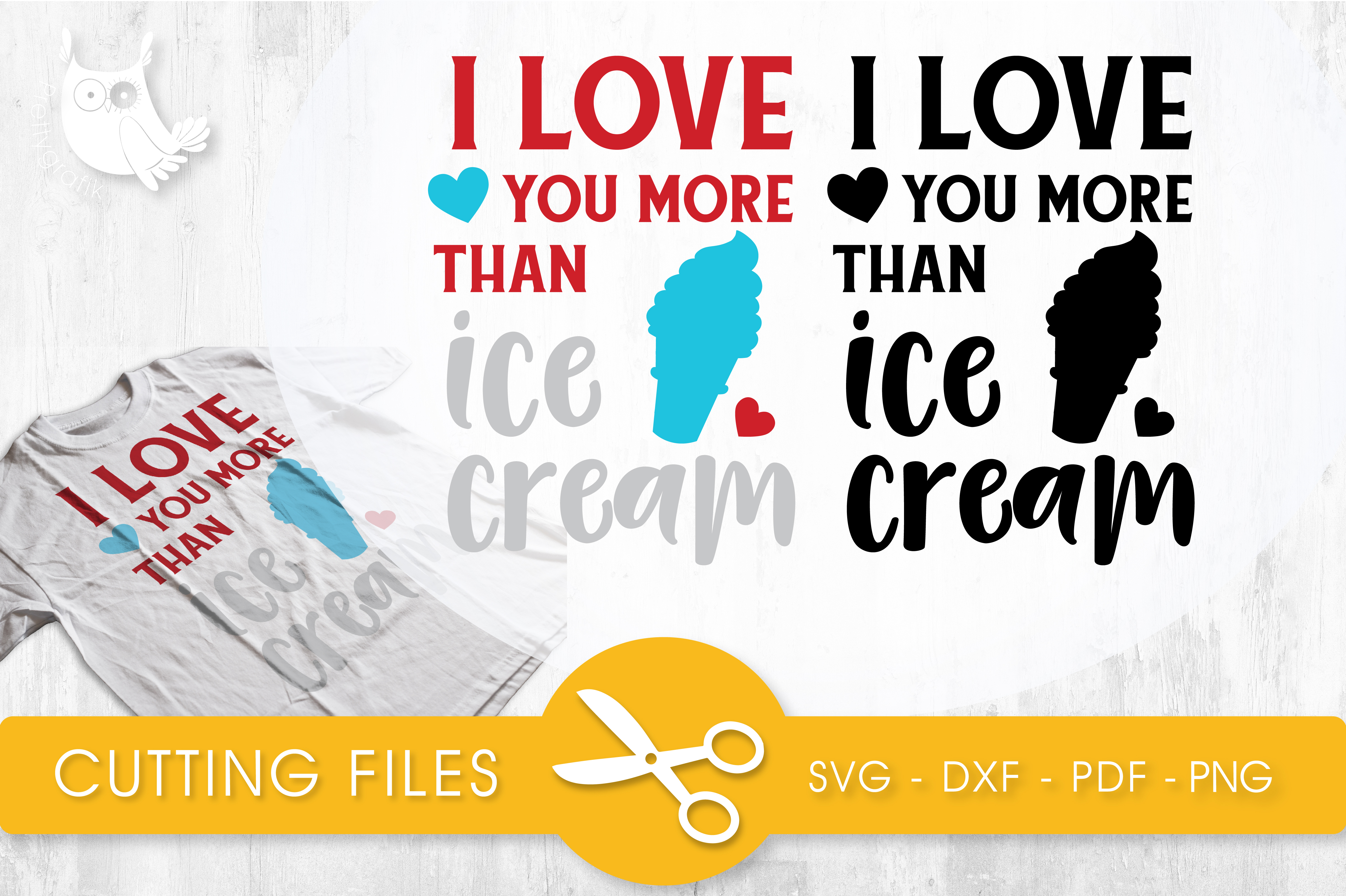 Download Free I Love You More Than Ice Cream Graphic By Prettycuttables for Cricut Explore, Silhouette and other cutting machines.