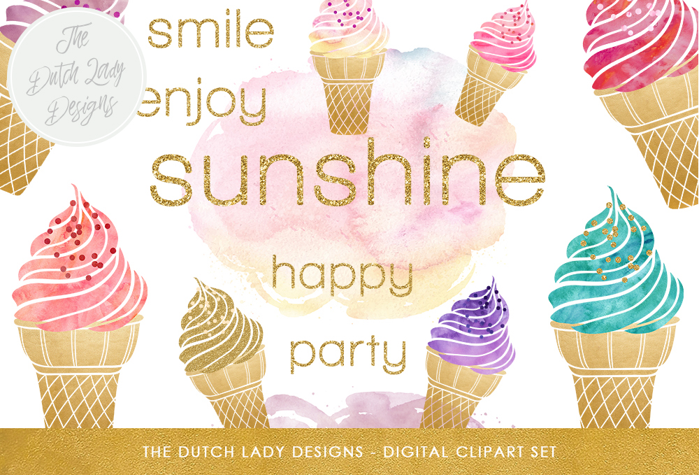 Print on Demand: Icecream Clipart Set - Summer Images in Gold & Watercolor Graphic Illustrations By daphnepopuliers