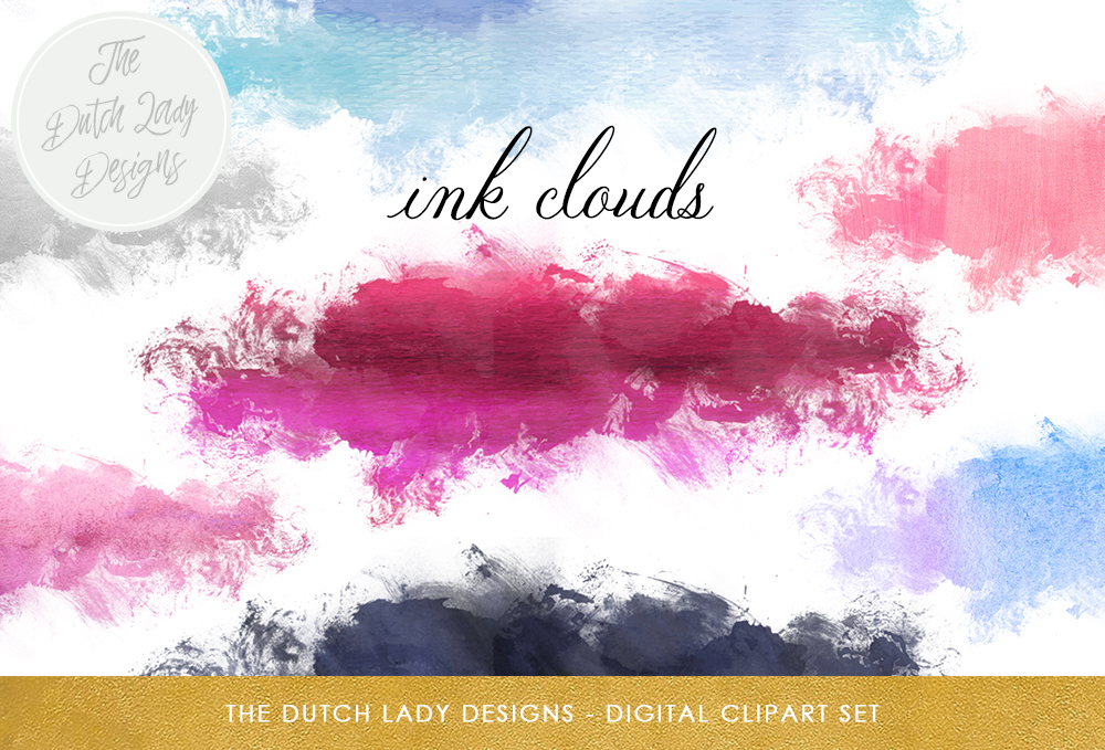 Print on Demand: Ink Cloud Clipart Set - Blue, Pink and Purple Ink Stains, Paint Smears Graphic Crafts By daphnepopuliers