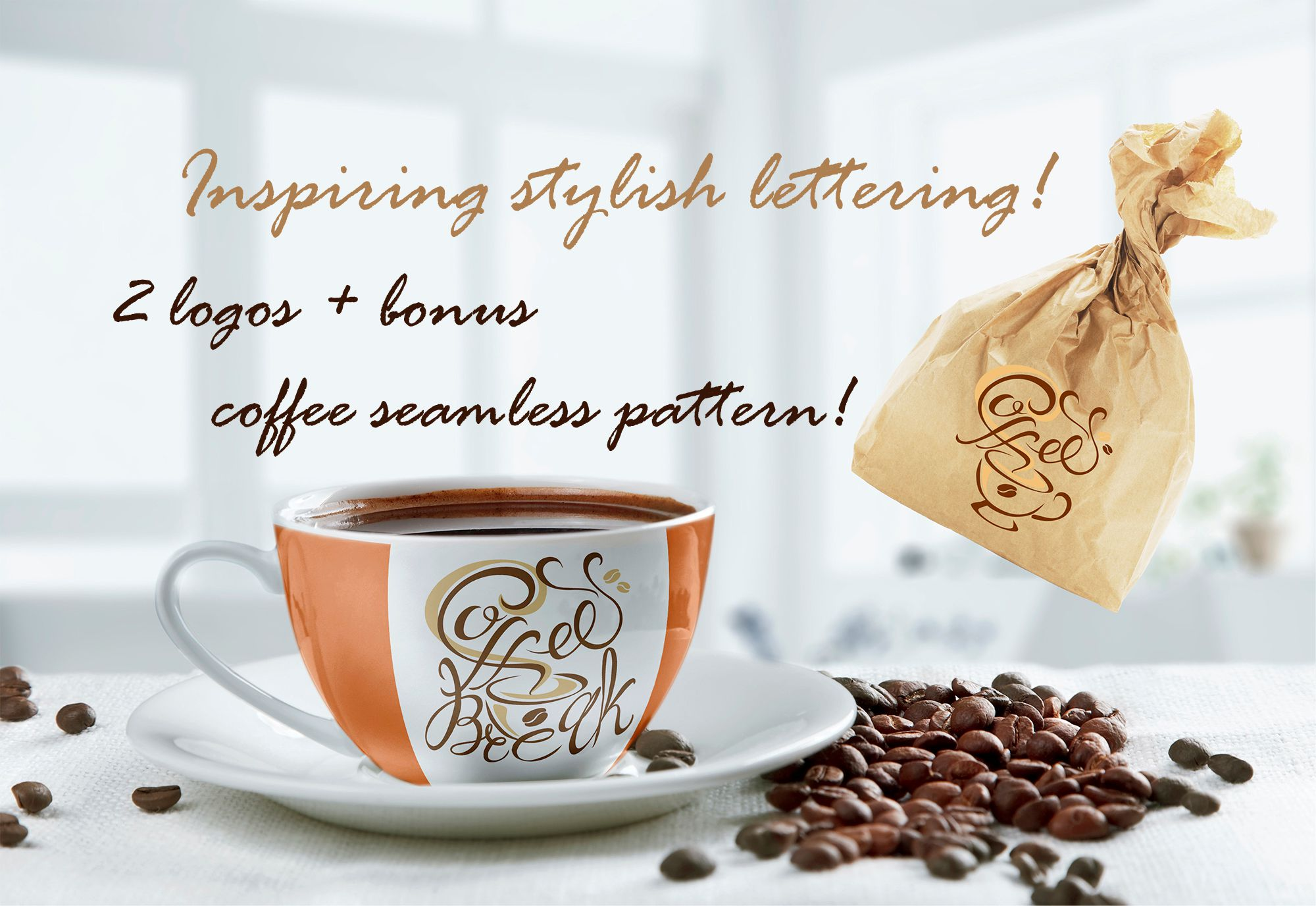 Inspiring Stylish Lettering on the Theme of Coffee. Logotypes. Bonus Seamless Pattern. Graphic Illustrations By grigaola