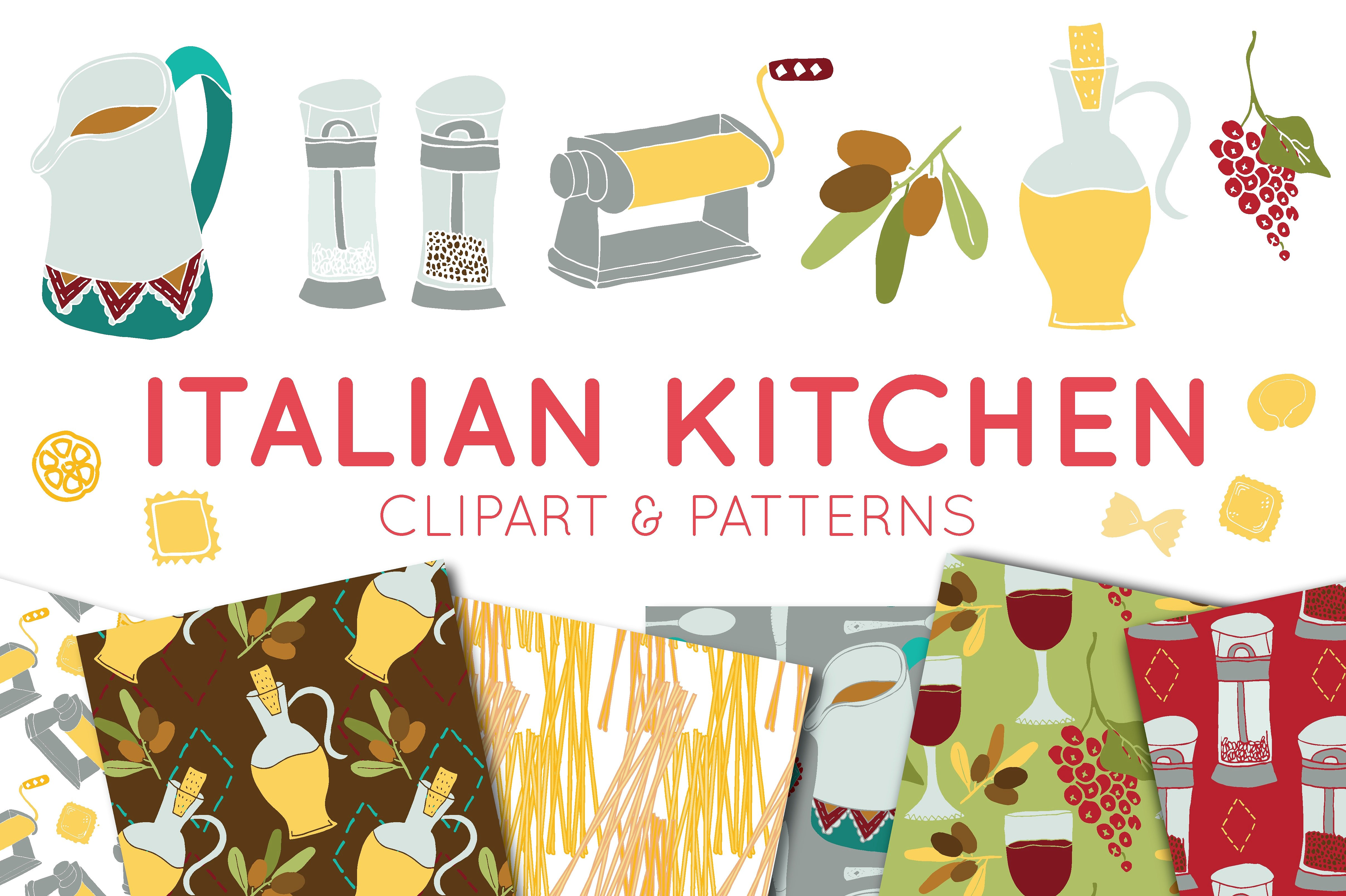 Print on Demand: Italian Food Clipart & Digital Paper Graphic Illustrations By illuztrate