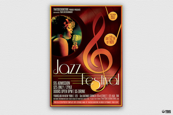 Jazz Festival Flyer Template Graphic Print Templates By ThatsDesignStore
