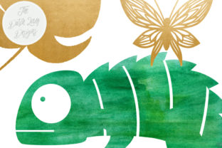 Print on Demand: Jungle Clipart Set - Green Watercolor & Gold - Chameleon, Frog, Leafs, Plants, Butterflies Graphic Illustrations By daphnepopuliers 4