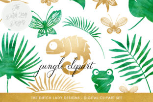 Print on Demand: Jungle Clipart Set - Green Watercolor & Gold - Chameleon, Frog, Leafs, Plants, Butterflies Graphic Illustrations By daphnepopuliers 1