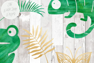 Print on Demand: Jungle Clipart Set - Green Watercolor & Gold - Chameleon, Frog, Leafs, Plants, Butterflies Graphic Illustrations By daphnepopuliers 5