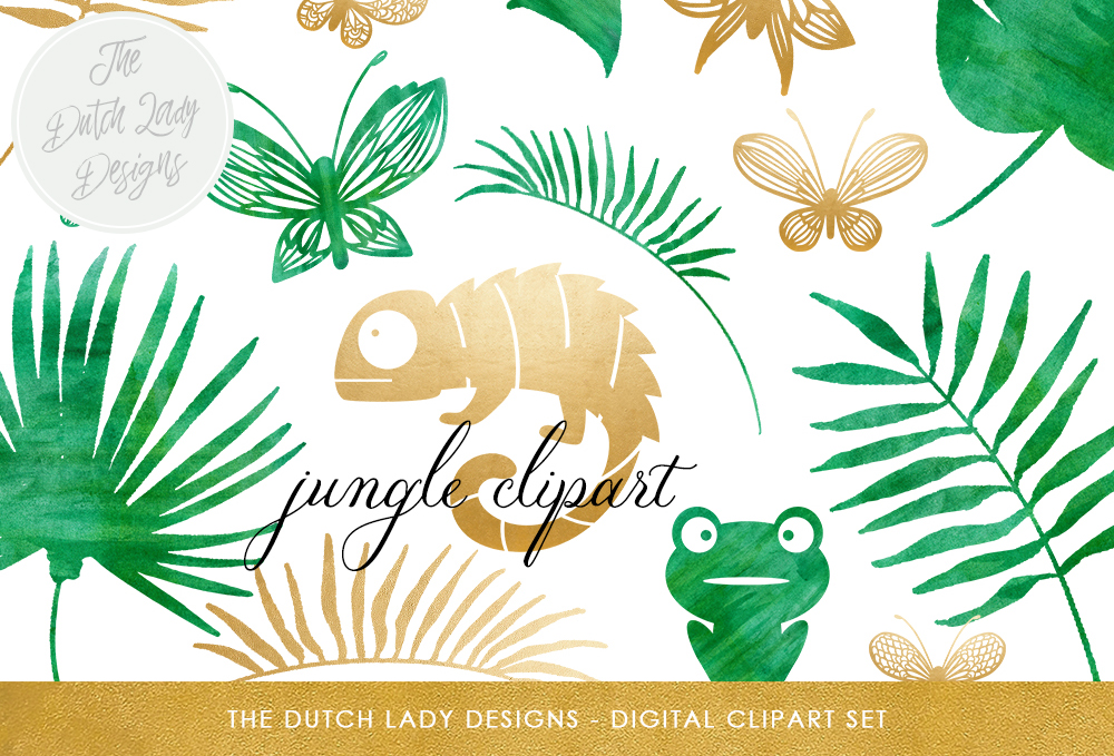 Print on Demand: Jungle Clipart Set - Green Watercolor & Gold - Chameleon, Frog, Leafs, Plants, Butterflies Graphic Illustrations By daphnepopuliers - Image 1
