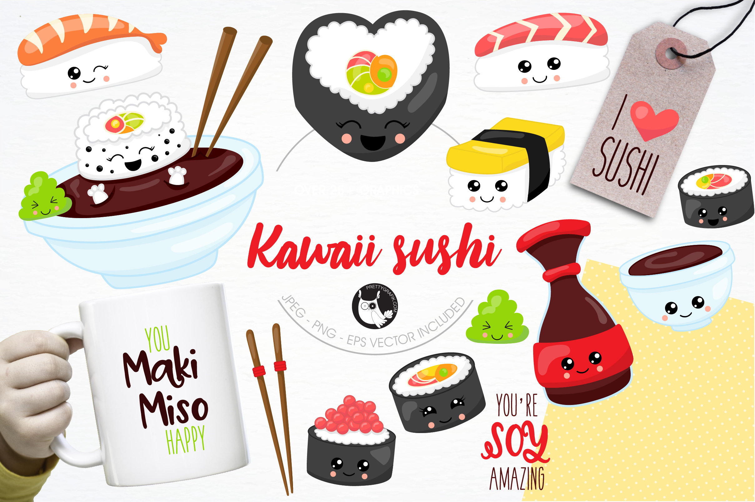 Download Free Kawaii Sushi Graphic By Prettygrafik Creative Fabrica for Cricut Explore, Silhouette and other cutting machines.