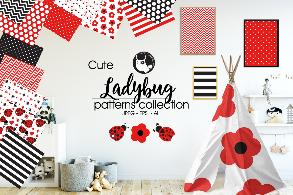 Print on Demand: Ladybug Graphic Patterns By Prettygrafik