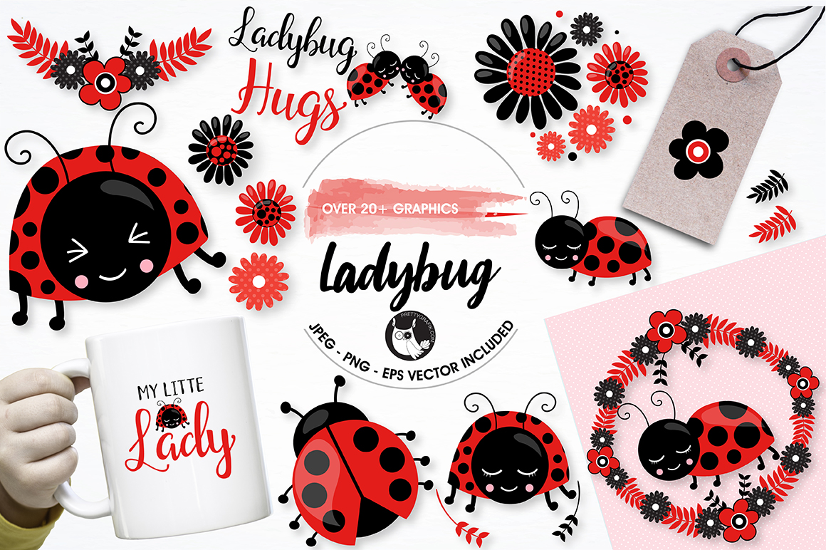 Print on Demand: Ladybug Graphic Illustrations By Prettygrafik
