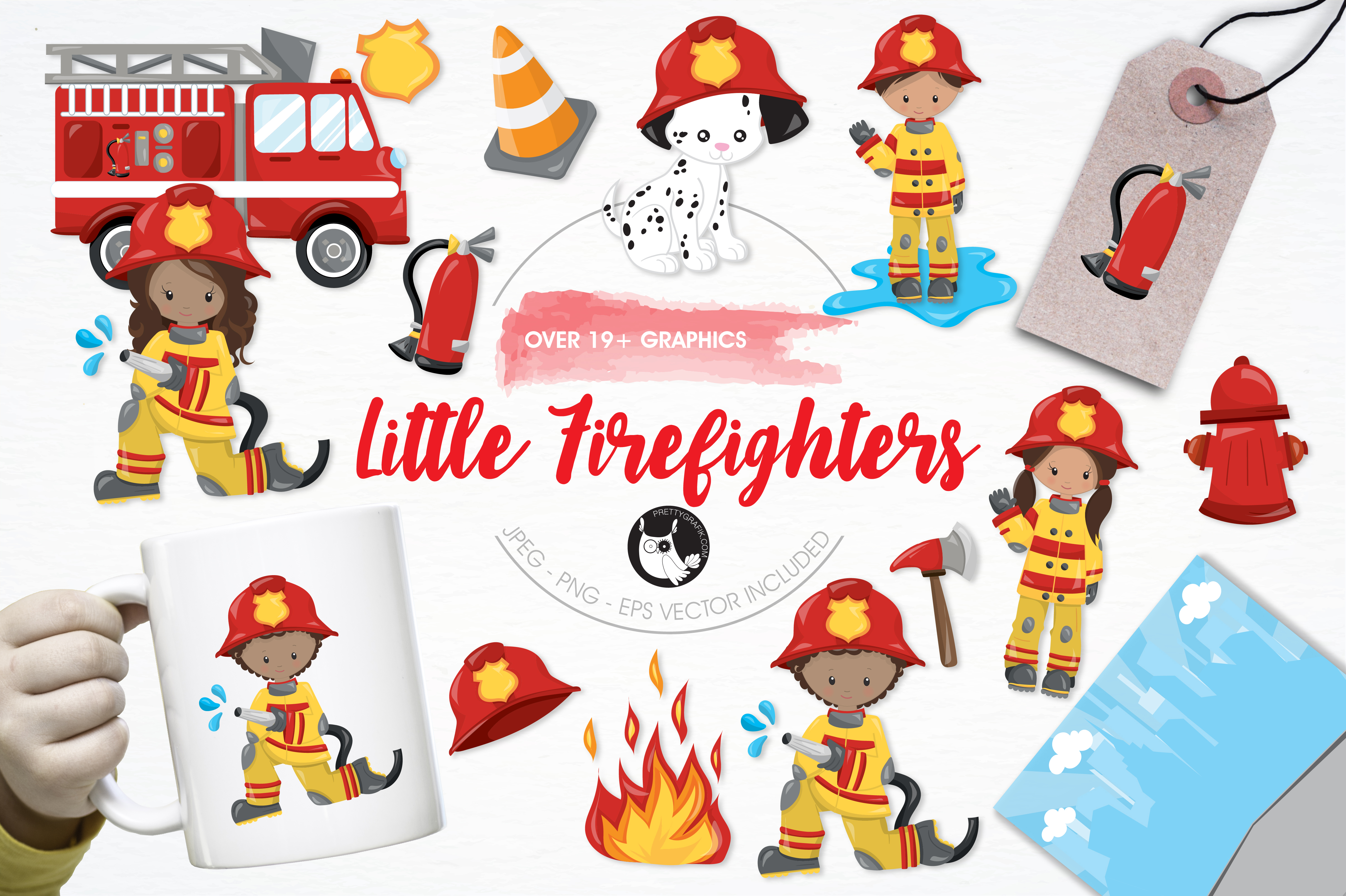Print on Demand: Little Firefighters Graphic Illustrations By Prettygrafik