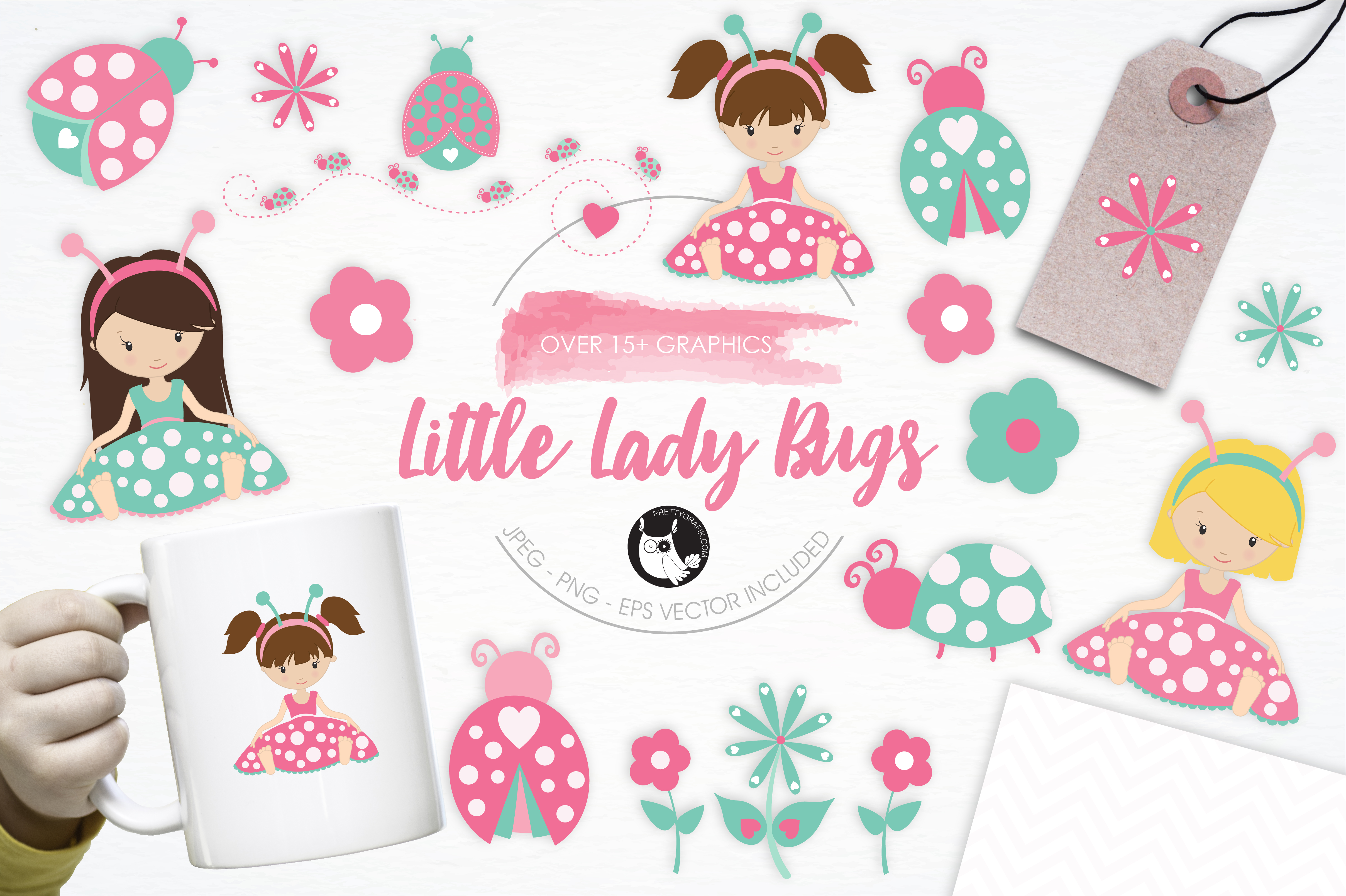 Print on Demand: Little Lady Bugs Graphic Illustrations By Prettygrafik