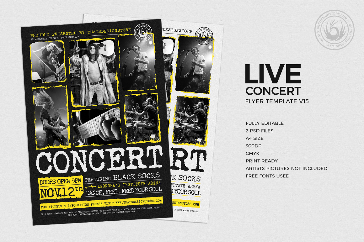Download Free Live Concert Flyer Template Graphic By Thatsdesignstore for Cricut Explore, Silhouette and other cutting machines.