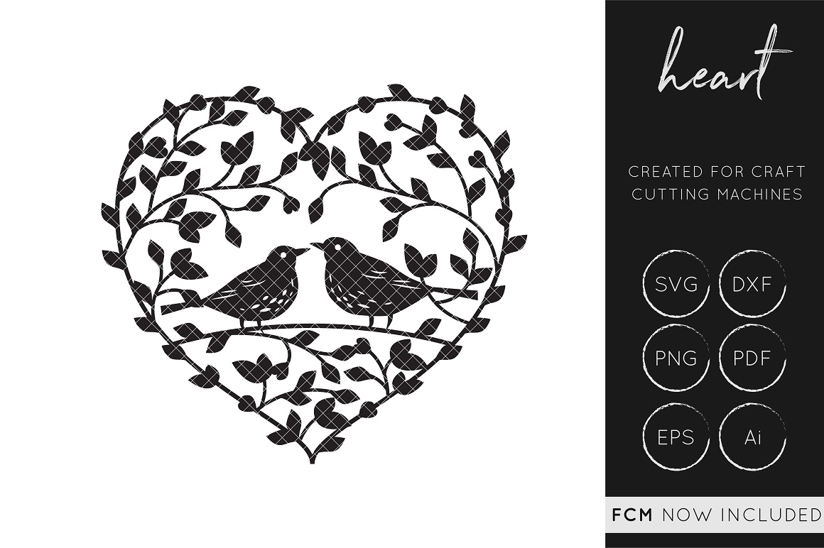 Download Free Love Birds Heart Cut File Graphic By Illuztrate Creative Fabrica for Cricut Explore, Silhouette and other cutting machines.