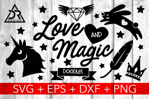 Print on Demand: Love and Magic SVG Doodles Graphic Illustrations By davidrockdesign