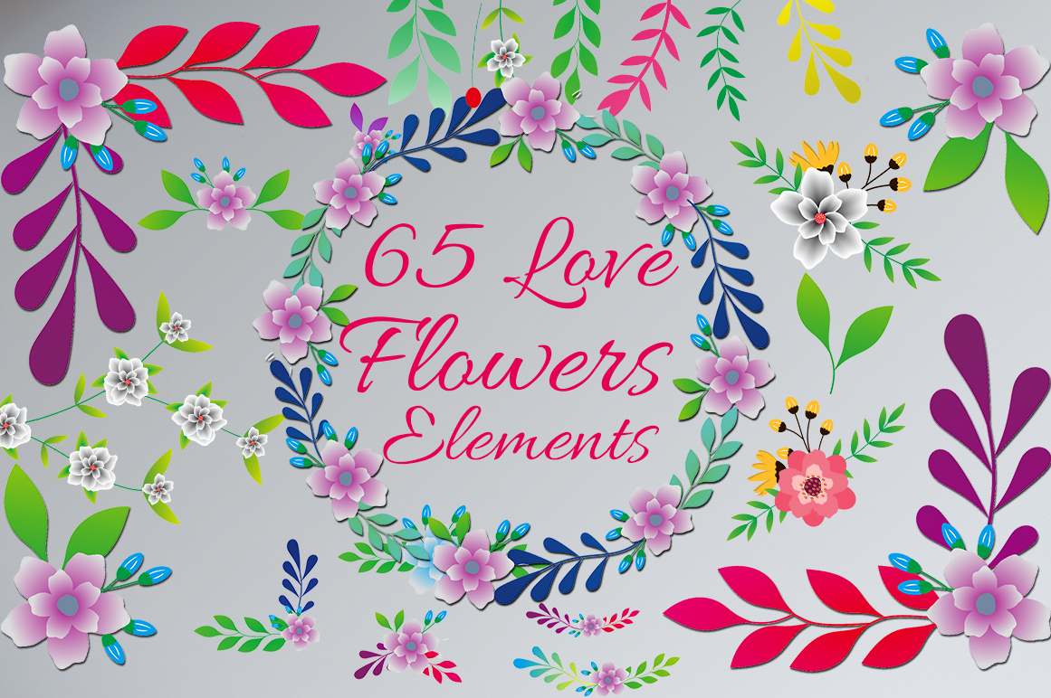 Love Flowers (65 Elements) Graphic By art design