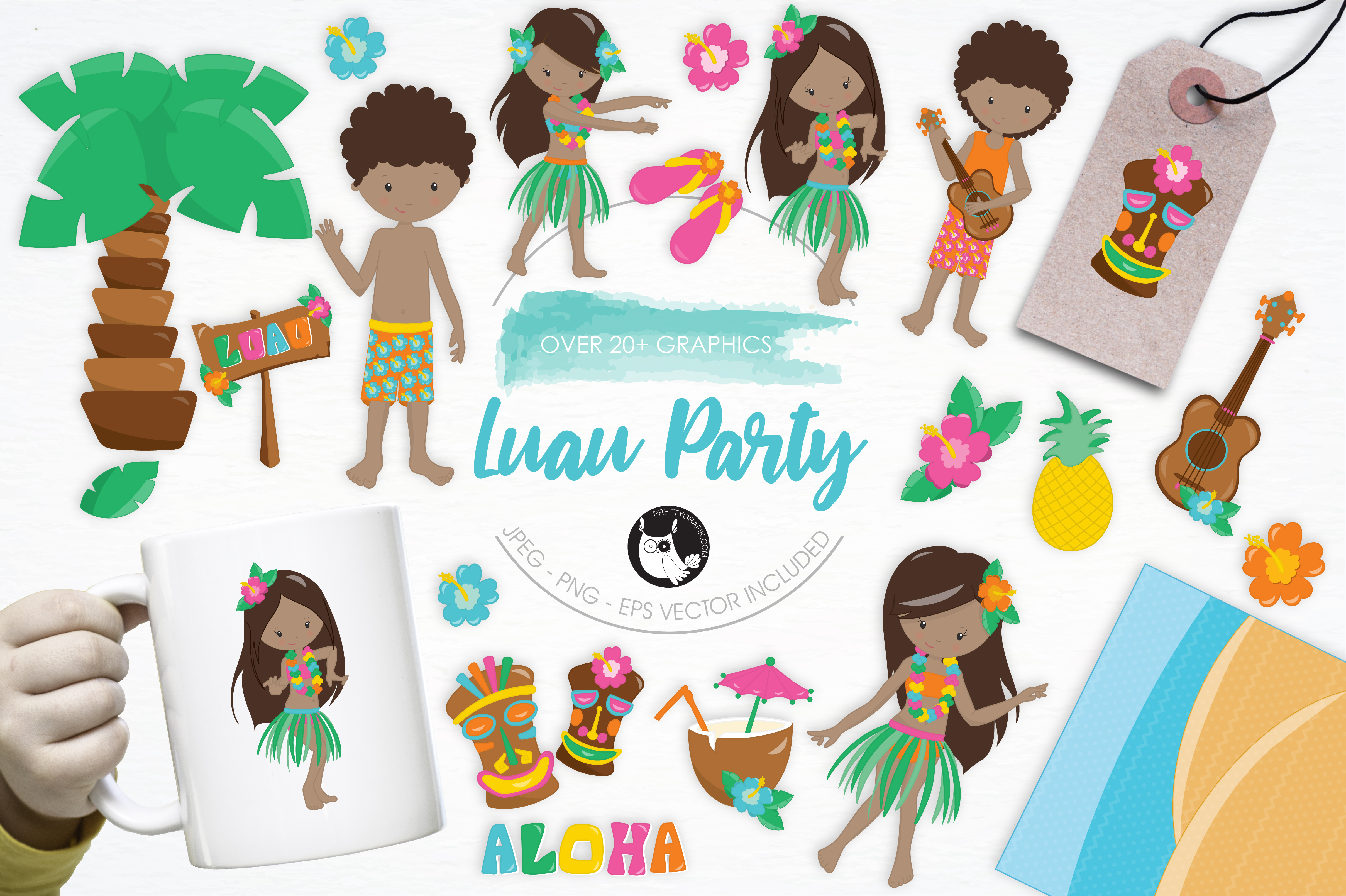 Download Free Luau Party Graphic By Prettygrafik Creative Fabrica for Cricut Explore, Silhouette and other cutting machines.