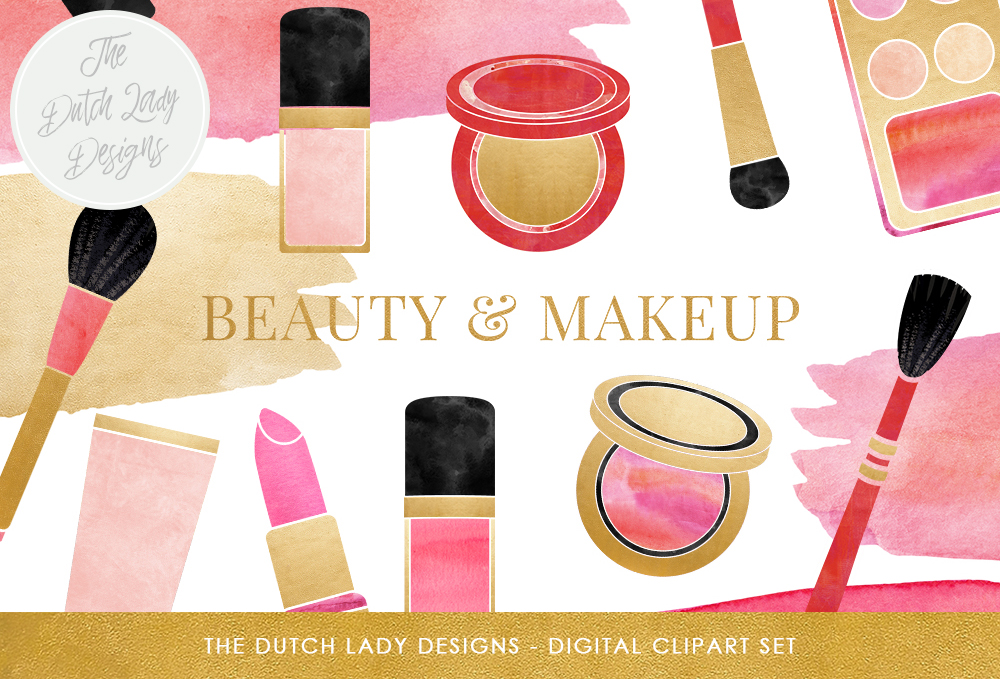 Print on Demand: Makeup & Beauty Clipart Set - Watercolor Smears - Red, Pink, Gold - Lipstick, Brush, Polish, Eye Shadow Graphic Illustrations By daphnepopuliers