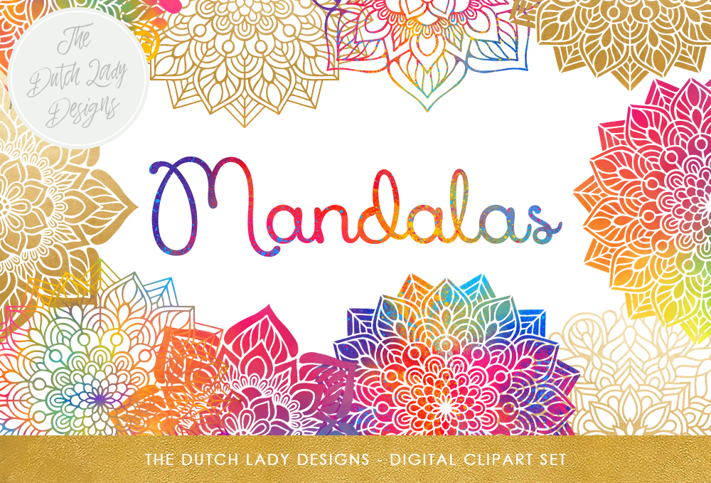Print on Demand: Mandala Clipart Set - Rainbow & Gold - Indian, Thai, Yoga, Holistic Circles - Colorful Mandalas Graphic Crafts By daphnepopuliers