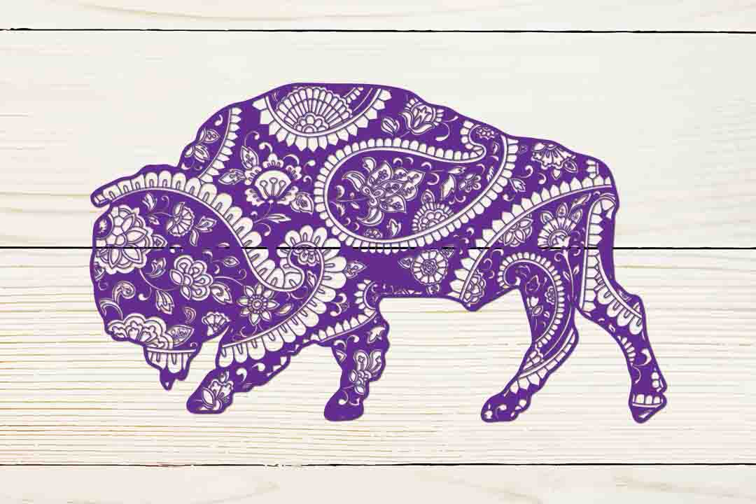Download Free Mandala Buffalo Graphic By Twelvepapers Creative Fabrica for Cricut Explore, Silhouette and other cutting machines.