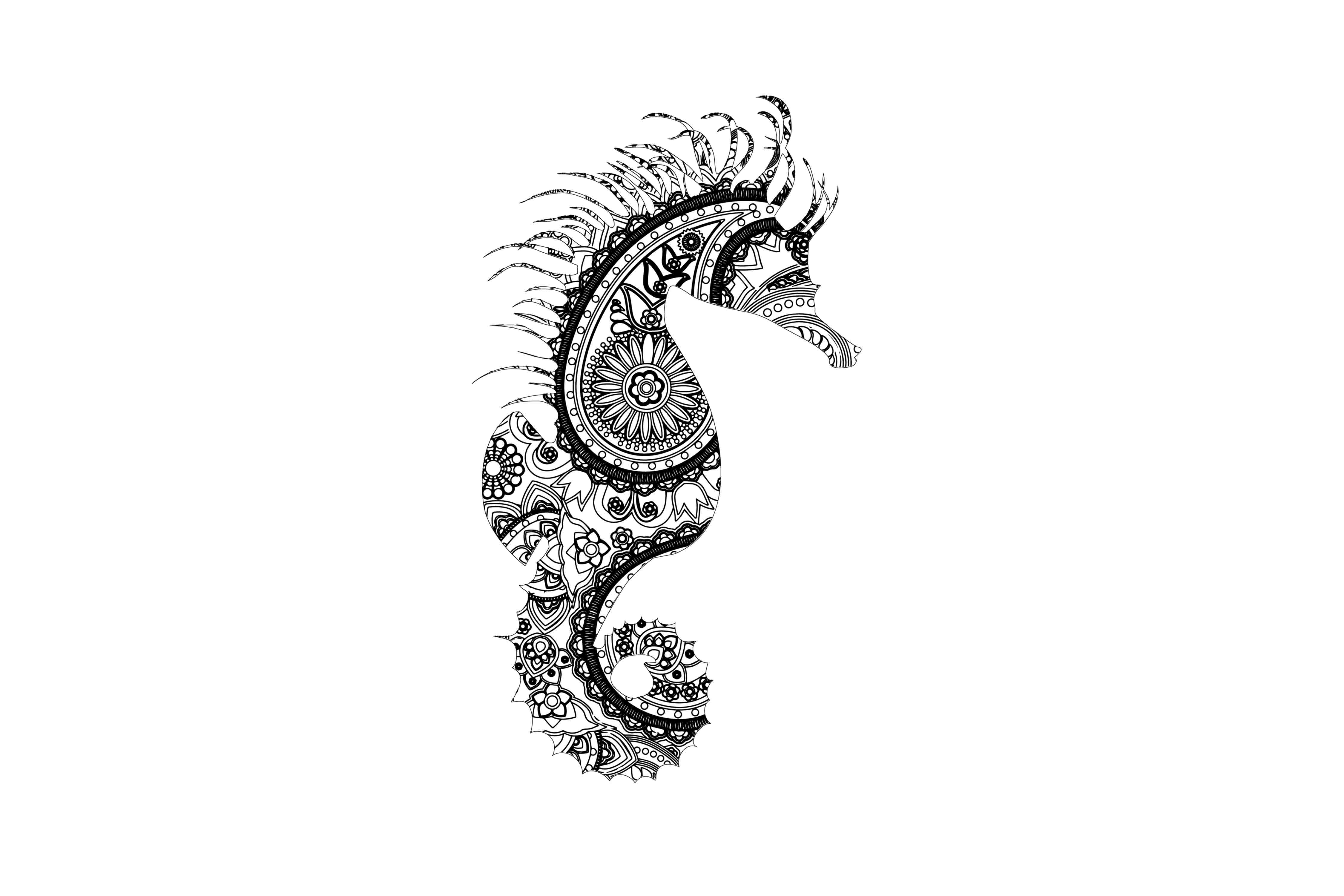Mandala Seahorse SVG Grafik Illustrationen von twelvepapers