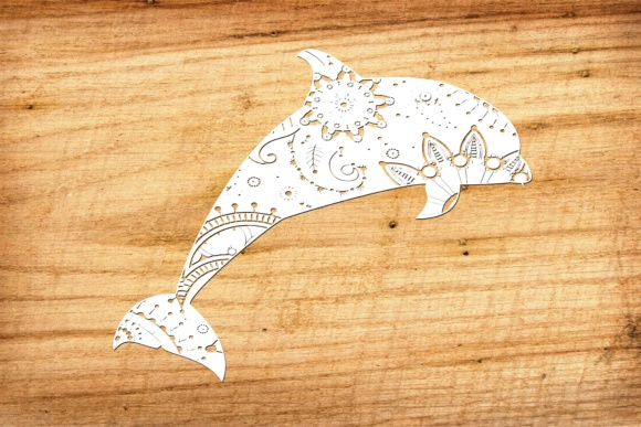 Download Free Mandala White Dolphin Graphic By Twelvepapers Creative Fabrica for Cricut Explore, Silhouette and other cutting machines.