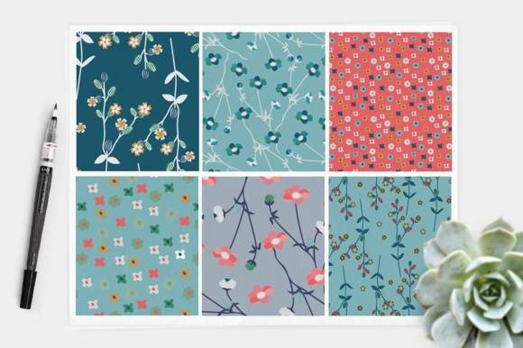 Print on Demand: Meadowland Floral Seamless Digital Papers - Prairie Flowers Patterns Graphic Patterns By illuztrate