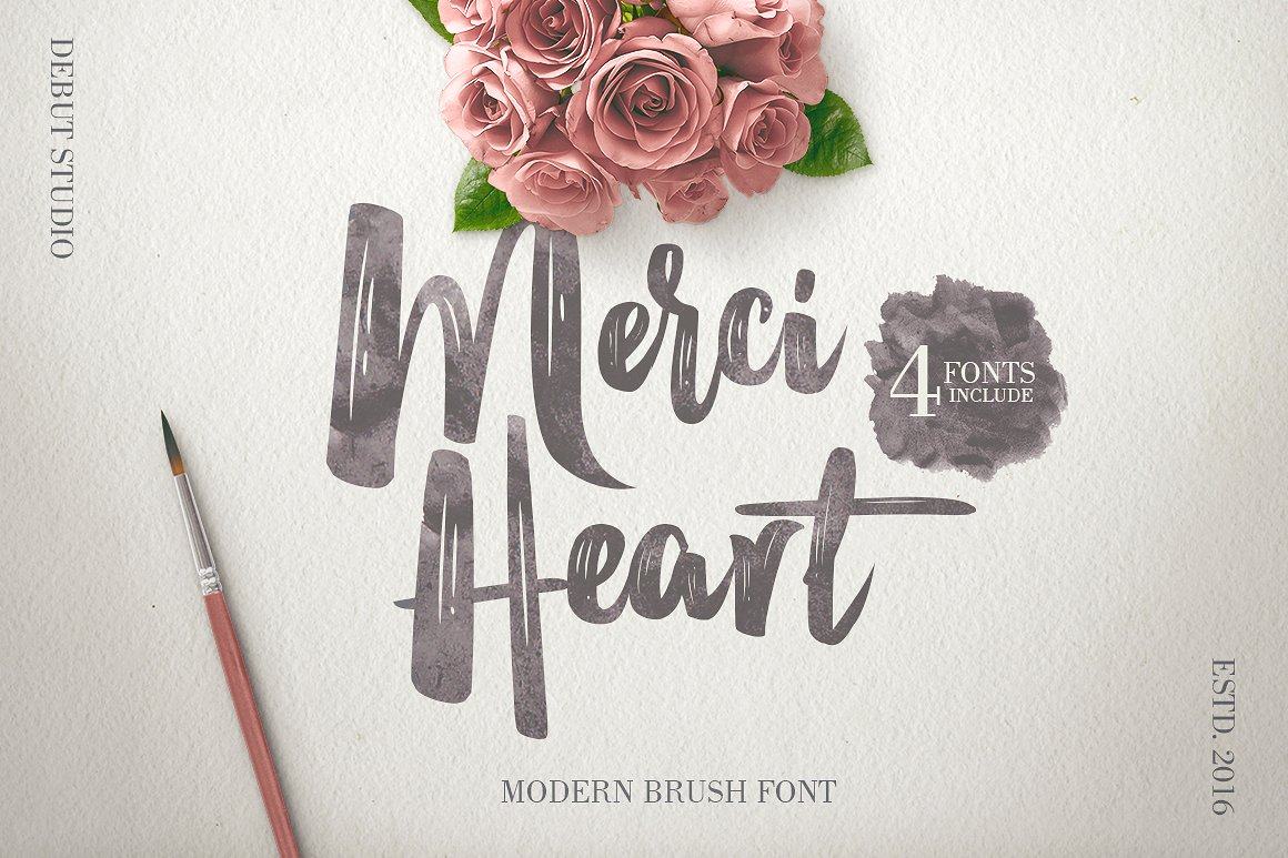 Merci Heart Font By Debut Studio