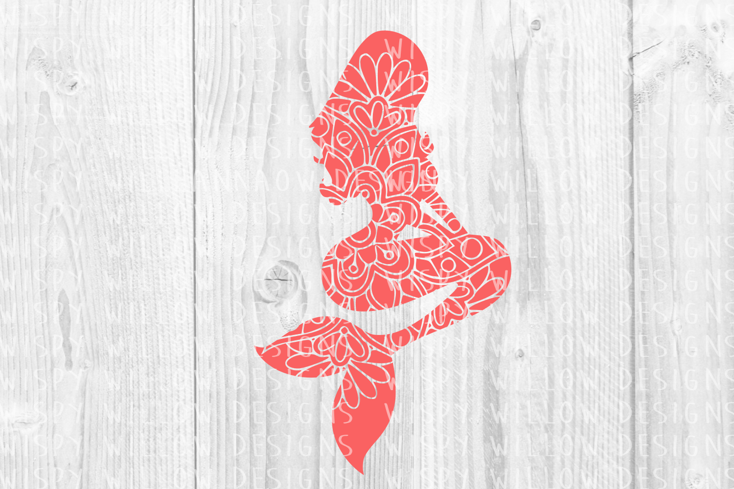 Mermaid Floral Mandala Graphic Crafts By WispyWillowDesigns