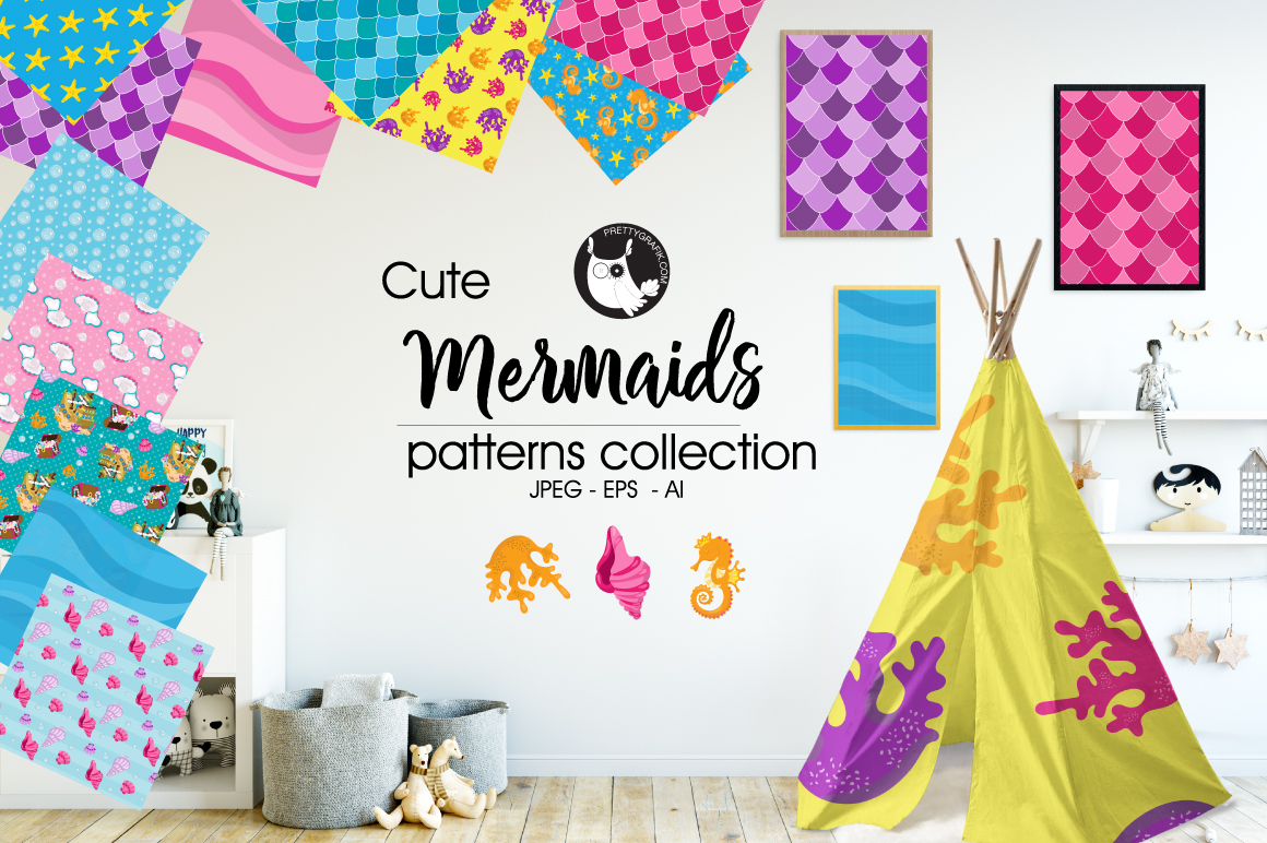 Print on Demand: Mermaids Graphic Patterns By Prettygrafik
