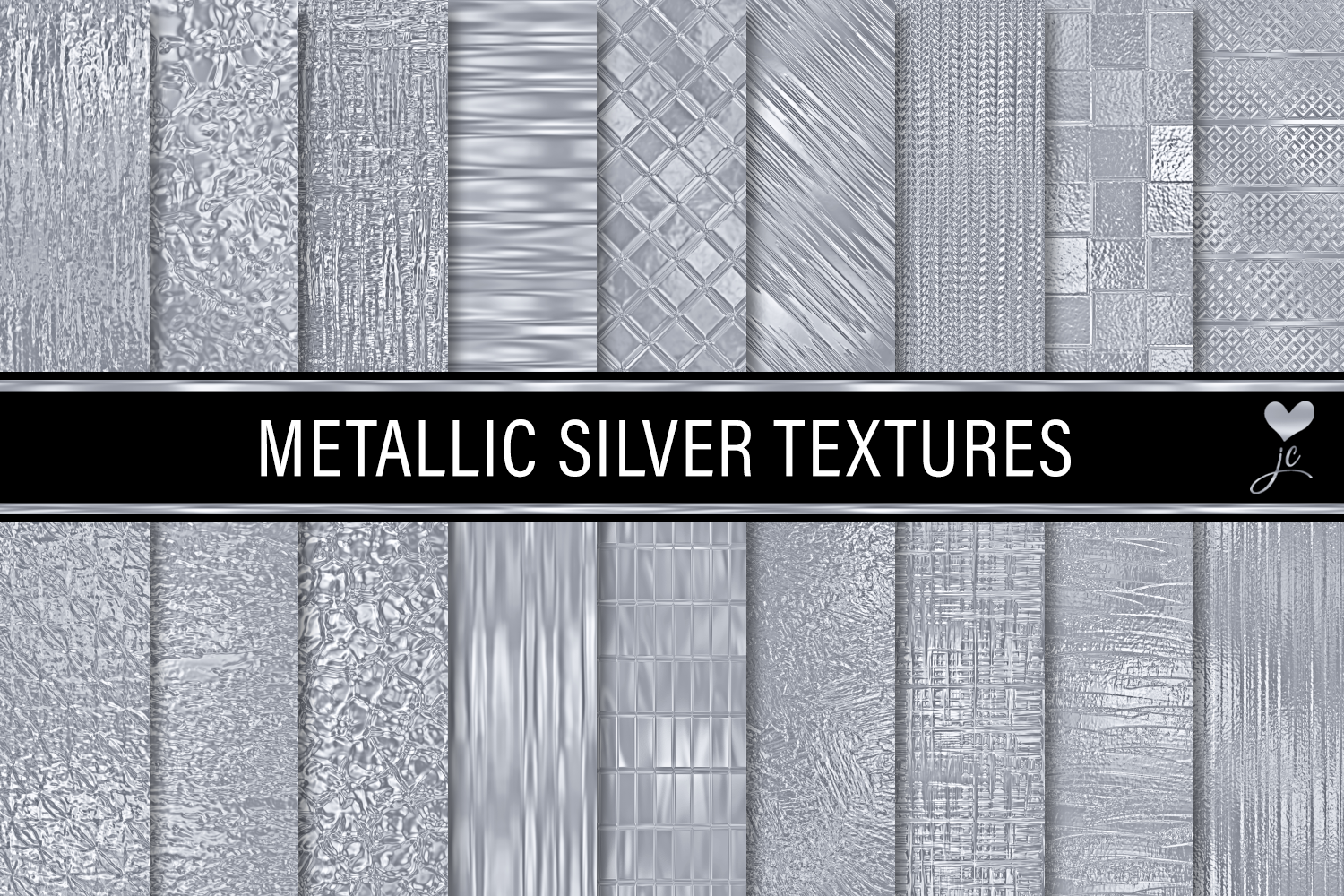 Print on Demand: Metallic Silver Textures Graphic Textures By JulieCampbellDesigns