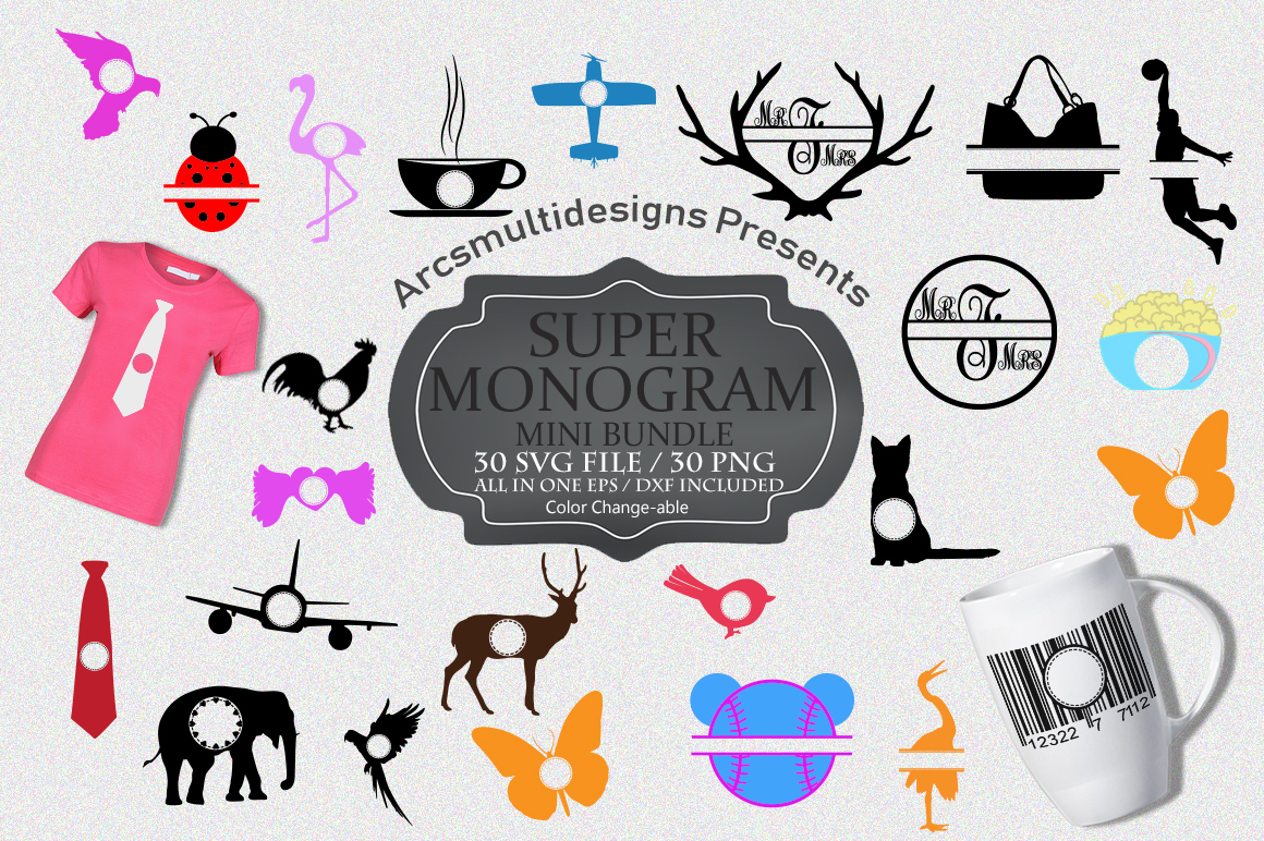 Print on Demand: Monogram Bundle SVG Graphic Crafts By Arcs Multidesigns