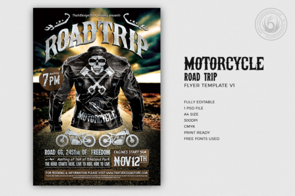 Motorcycle Road Trip Flyer Template Graphic Print Templates By ThatsDesignStore