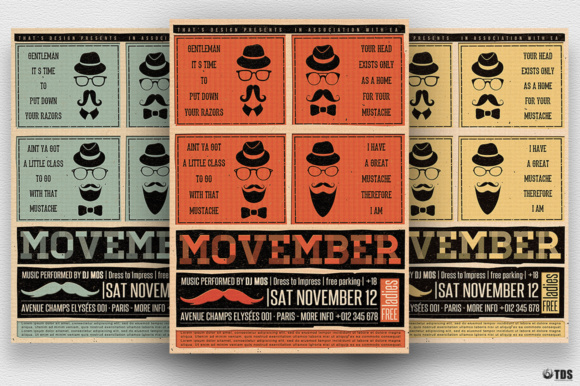 Movember Flyer Template Graphic Print Templates By ThatsDesignStore