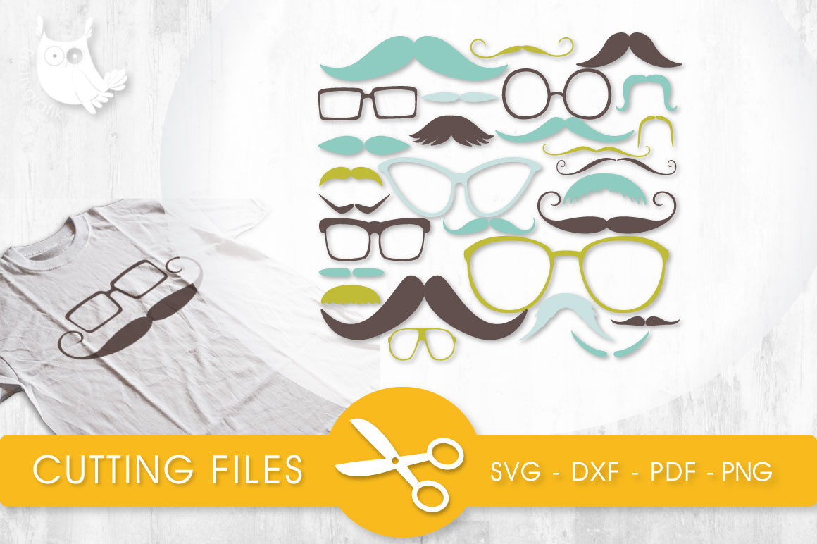 Mustaches and Glasses Graphic Crafts By PrettyCuttables