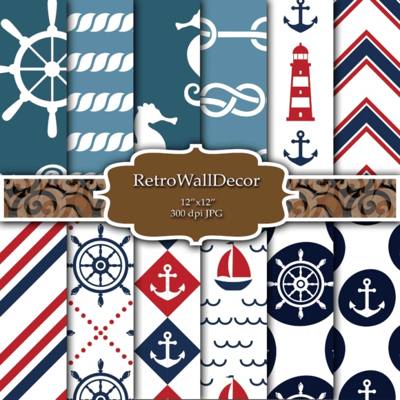 Print on Demand: Nautical Digital Papers Graphic Backgrounds By retrowalldecor