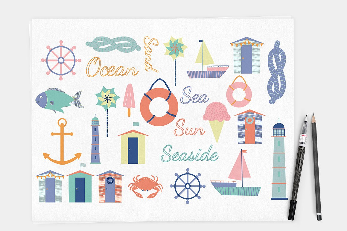 Download Free Nautical Seaside Vector Clipart Pastel Clip Art Elements for Cricut Explore, Silhouette and other cutting machines.