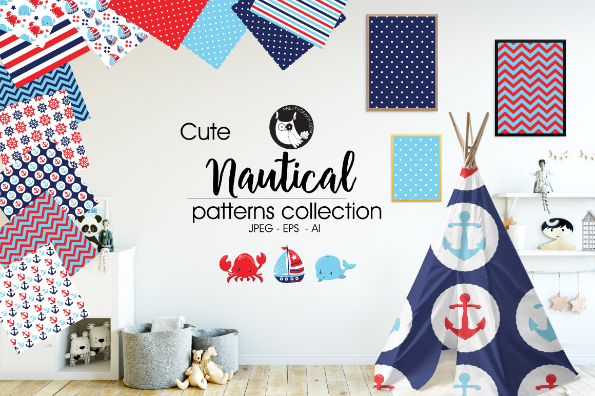 Print on Demand: Nautical Patterns Graphic Patterns By Prettygrafik
