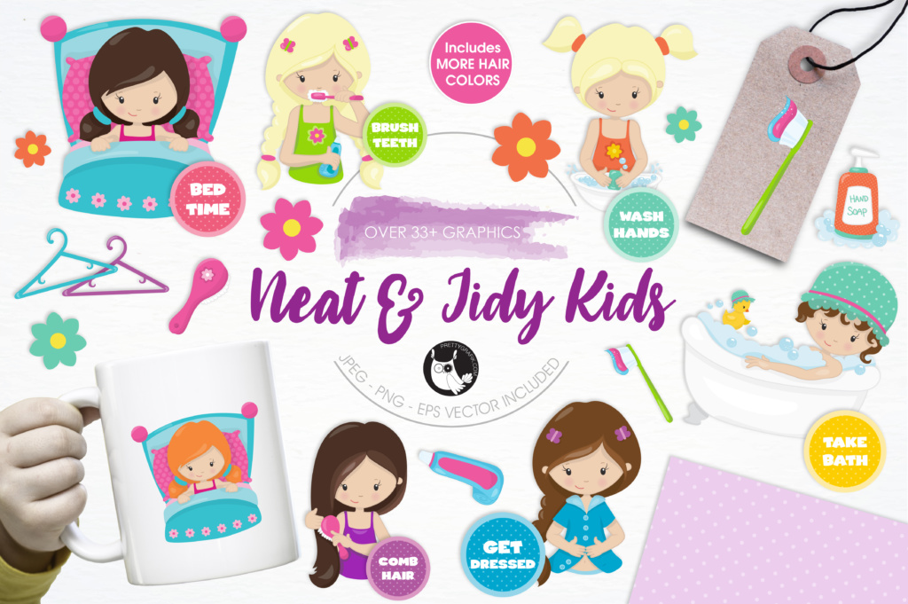 Download Free Neat Tidy Kids Graphic By Prettygrafik Creative Fabrica for Cricut Explore, Silhouette and other cutting machines.