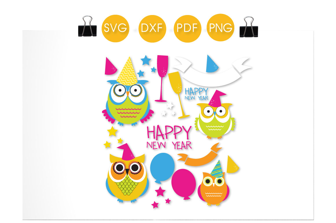 Download Free New Year Owls Graphic By Prettycuttables Creative Fabrica for Cricut Explore, Silhouette and other cutting machines.
